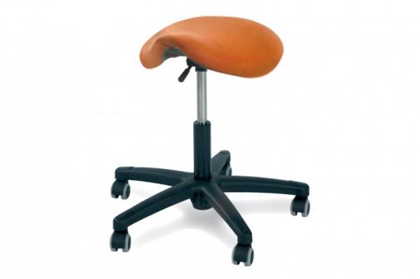 Rollhocker POSTO mit Sattelsitz, Kunststoffgestell, Polsterfarbe - orange