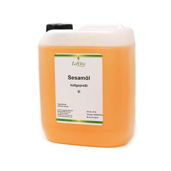 Sesamöl, kaltgepresst in 5 Liter Kanister | Massageöl | Vorratspackung