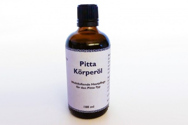 Ayurvedisches Körperöl - Komposition für den Pitta-Dosha-Typus. Öl auf Sesamölbasis