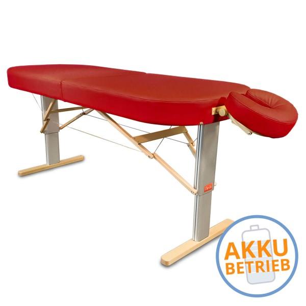 Mobile LOMI- Massageliege LINEA Hawaii mit AKKU | breite ovale Liegefläche, elektrisch höhenverstellbar, Farbe PU-vinol (rot) | Kopfstütze NICHT im Lieferumfang enthalten