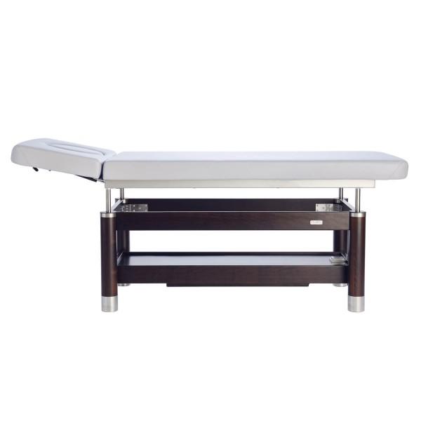 Luxus Massageliege AMBRA Motion | 2 Segmente mit Kopfteil | 8 Bezugsfarben verfügbar | Untergestell in 3 Holztönen