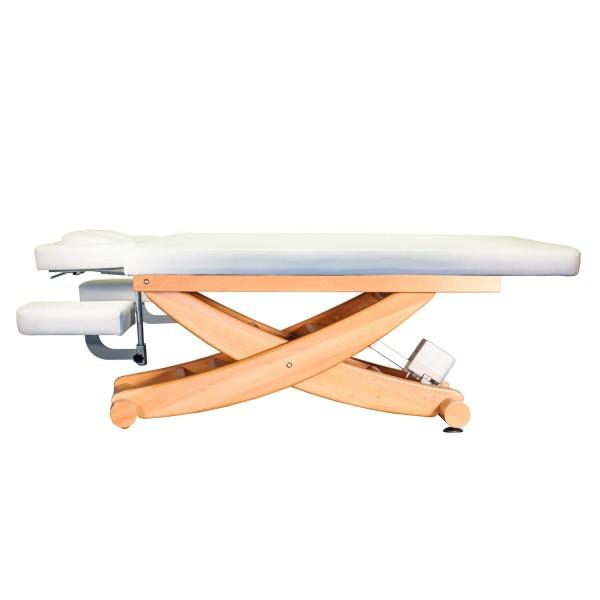 Massageliege HAVANNA Holz mit Kopfteil und Armablagen | Untergestell Buche lackiert | Farbe PU-Arena