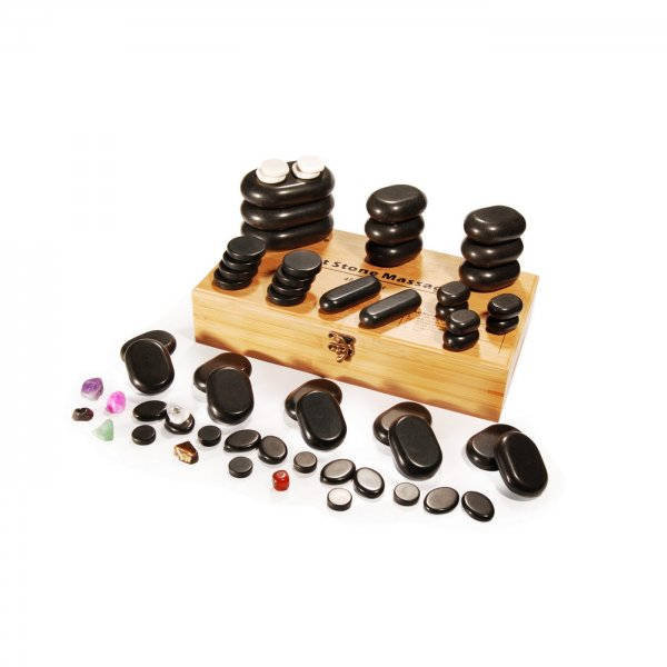 Hot Stone Set - 60 Massagesteine mit Bambusbox
