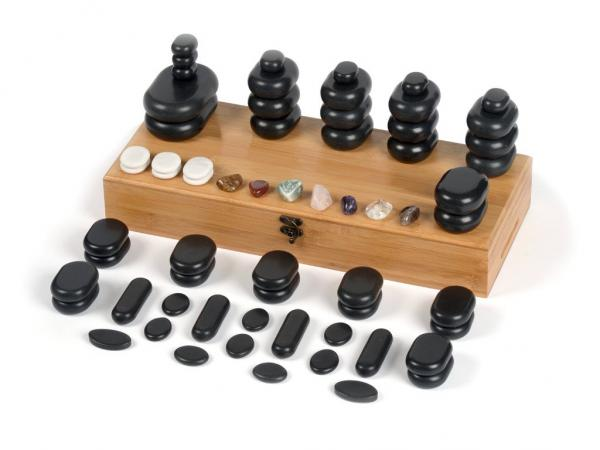 Hot Stone Massagestein -Set 64-teilig professional - inkl. 7 Chakra Steine