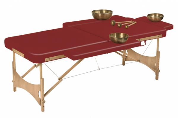 Mobile Massageliege für Klangmassage STANDARD Pro Klangliege (hier mit Zubehör, NICHT im Lieferumfang enthalten) - Farbe:  vino