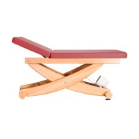 Wellnessliege aus Holz | HAVANNA Serie mit Rückenteil | Untergestell Buche lackiert | Farbe PU-vino