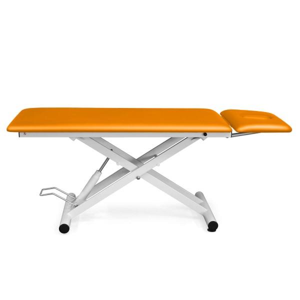 Hydraulische Therapieliege | Kopfteil ergonomisch | MALMÖ 2 Segmente | Bezugsfarbe PISA- orange