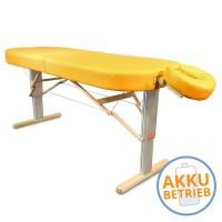 Mobile LOMI- Massageliege LINEA Hawaii mit AKKU | breite ovale Liegefläche, elektrisch höhenverstellbar, Farbe PU-sol (gelb) | Kopfstütze NICHT im...