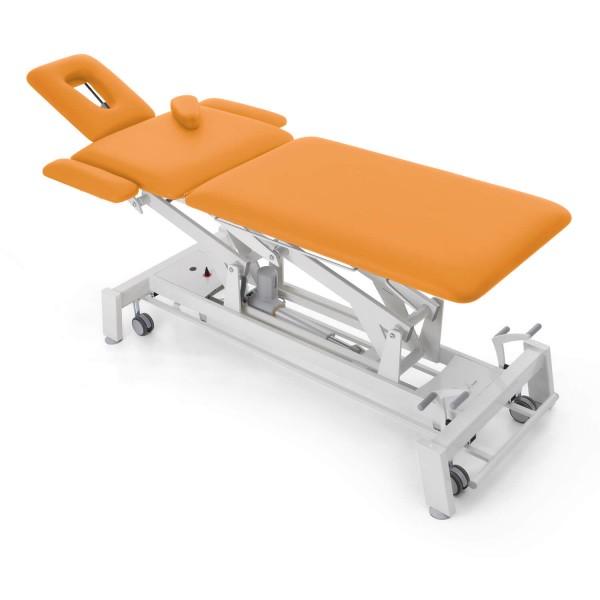 Osteopathieliege STOCKHOLM Osteo, multivariabel, elektrisch, extra schmal, seitliche Verbreiterungen, Radhebesatz (optional), Bezugsfarbe PISA-orange