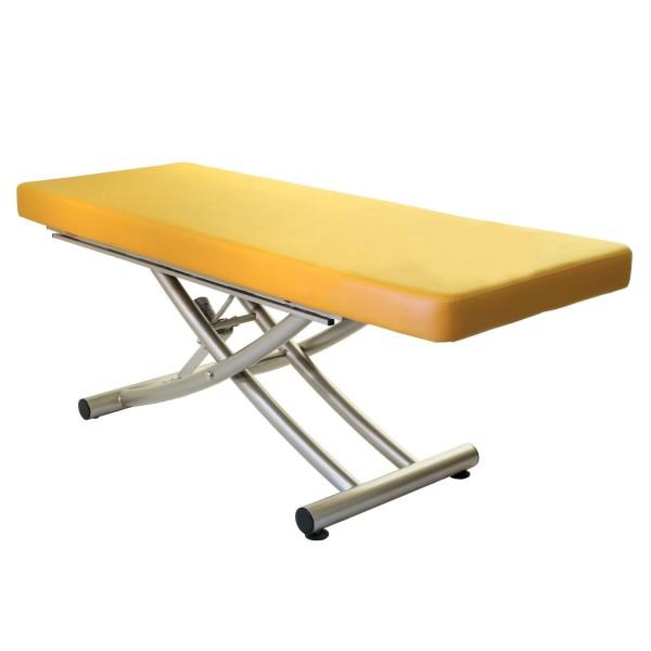 Stationäre Massageliege Matera mit einteiliger Liegefläche | Untergestell titanium | Farbe sol (gelb)