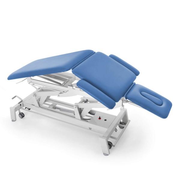 Osteopathieliege mit Dachstellung (Flexion), elektrisch, STOCKHOLM-Serie, multivariabel, Radhebesatz (optional), Bezugsfarbe PISA-hellblau