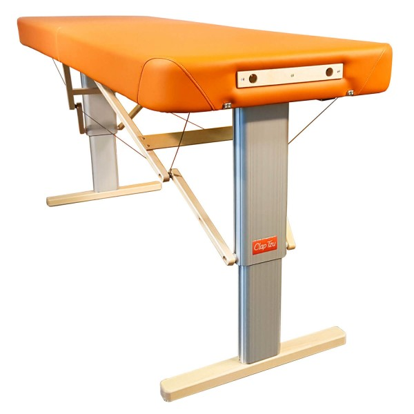Mobile Massageliege elektrisch höhenverstellbar LINEA Physio | Kopfteil NICHT im LIeferumfang enthalten (optionales Zubehör) | Physiotherapie Polsterung, Bezugsfarbe PISA-orange