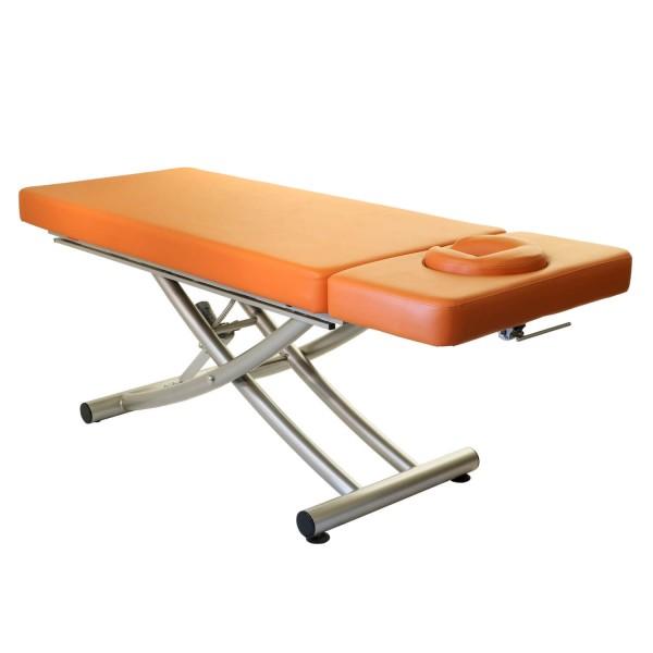 Elektrische Massageliege MATERA 2 Segmente mit Kopfteil | Untergestell titanium | PISA- orange
