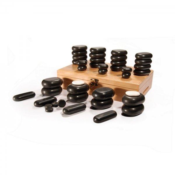 Hot Stone Set - 40 Massagesteine mit BambusBox