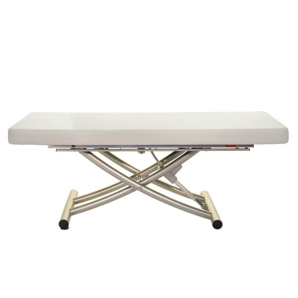Elektrische Massageliege Matera mit einteiliger Liegefläche   Untergestell titanium   Farbe blanco (weiss)