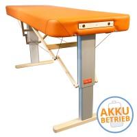 Mobile Massageliege LINEA Physio mit Akkubetrieb - maximal flexibel arbeiten | Bezugsfarbe PISA-orange