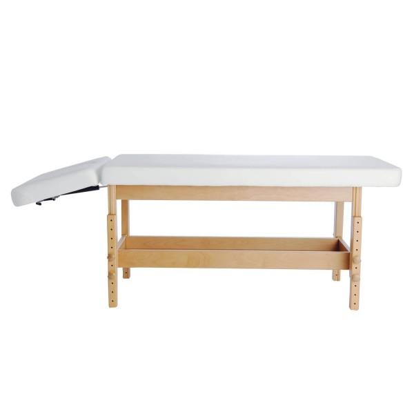 Holz-Massageliege Stabilo mit Kopfteil 40°/90° | Bezugsfarbe PU-blanco