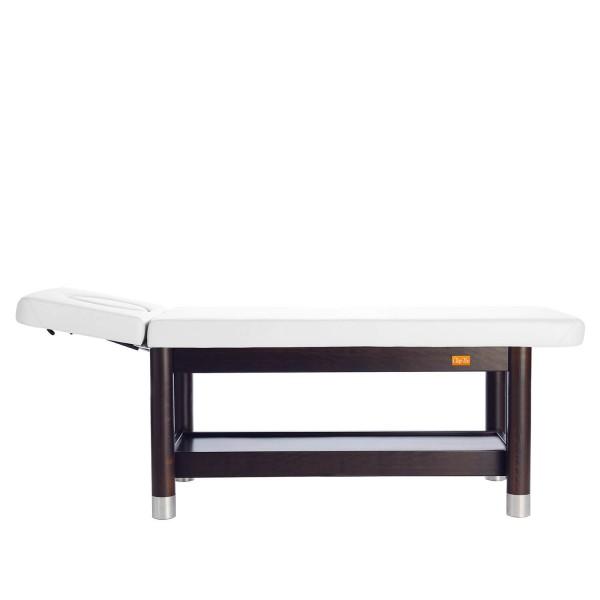 Massageliege stationär | 2 Segmente mit Kopfteil | Untergestell Palisander lackiert | Bezugsfarbe > PU-blanco