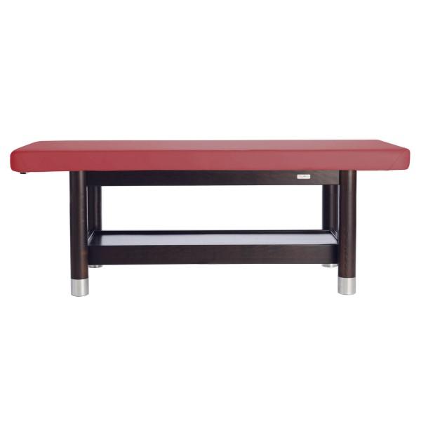 Massageliege in fester Arbeitshöhe (mehrere Stufen wählbar) | Ambra fix | Untergestell Palisander lackiert | PU-vino (rot)
