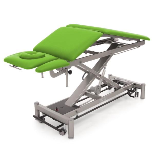 Elektrische Therapieliege OSLO 5 Segmente | hochflexibel mit Dachstellung, Kopfteil, Armablagen, hochstellbaren Beinteil, Untergestell in twintone (anthrazit / titanium), Bezugsfarbe PIS-apfelgrün