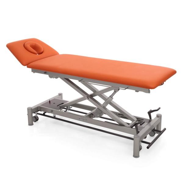Elektrische Therapieliege OSLO mit ERGO-Kopfteil, Radhebesatz (optional), Bezugsfarbe PISA-orange