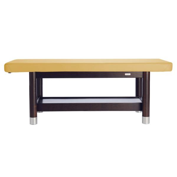 Massageliege in fester Arbeitshöhe (mehrere Stufen wählbar) | Ambra fix | Untergestell Palisander lackiert | PU-sol (gelb)