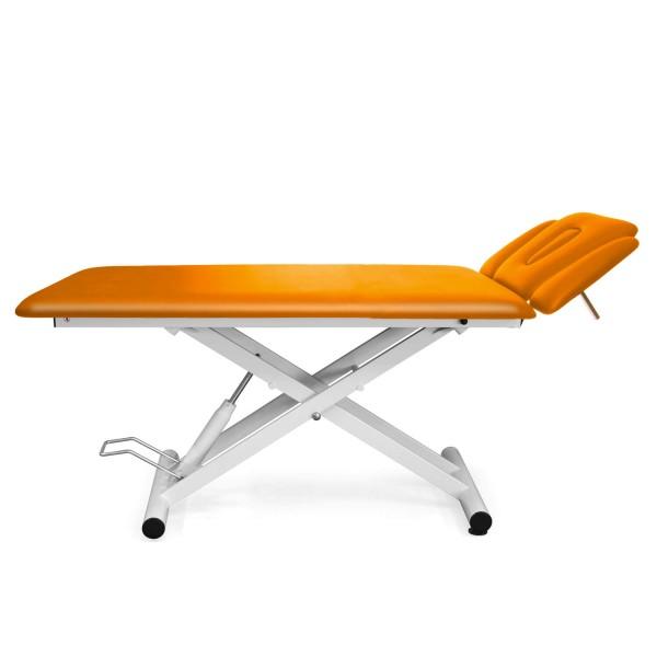 Therapieliege hydraulisch, 4 Segmente mit Kopfteil und Armablagen - Bezugsfarbe PISA-orange