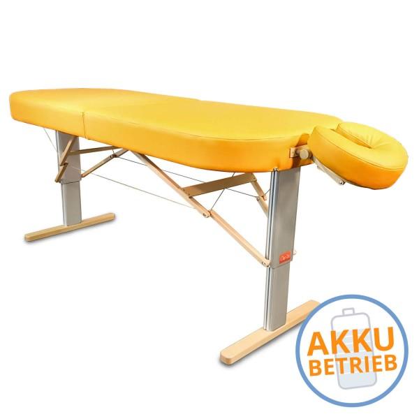 Mobile LOMI- Massageliege LINEA Hawaii mit AKKU | breite ovale Liegefläche, elektrisch höhenverstellbar, Farbe PU-sol (gelb) | Kopfstütze NICHT im Lieferumfang enthalten