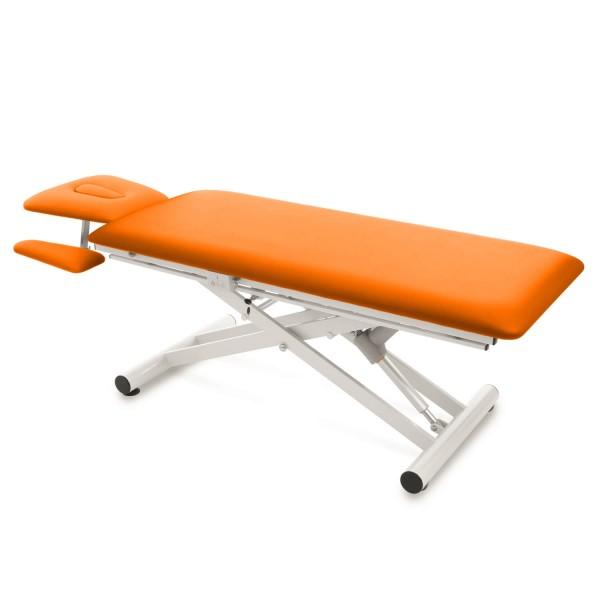 Elektrische Therapieliege mit Kopfteil und Armablagen MALMÖ-Serie| Bezugsfarbe PISA-orange