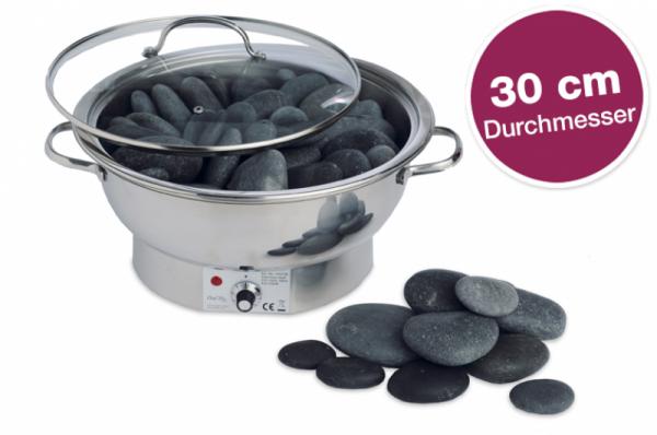 Hot Stone Massage Wärmegerät Edelstahl, klein - 30 cm Durchmesser (Lieferumfang OHNE Steine)
