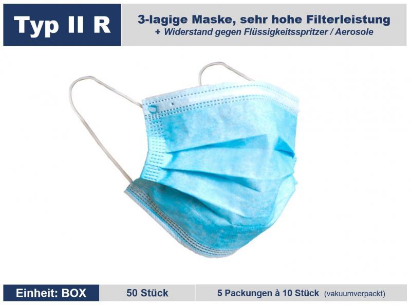 Mundschutz | Nasenschutz Typ II R 3-lagig mit 99,41 % Filterleistung, zertifiziert