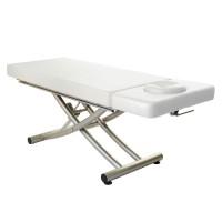 Elektrische Massageliege MATERA 2 Segmente mit Kopfteil | Untergestell titanium | PU-blanco (weiß)