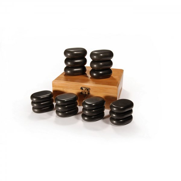 Hot Stone Set - 18 Massagesteine mit BambusBox