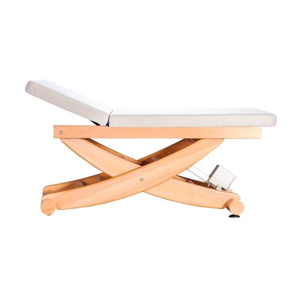 Wellnessliege aus Holz | HAVANNA Serie mit Rückenteil | Untergestell Buche lackiert | Farbe PU-arena