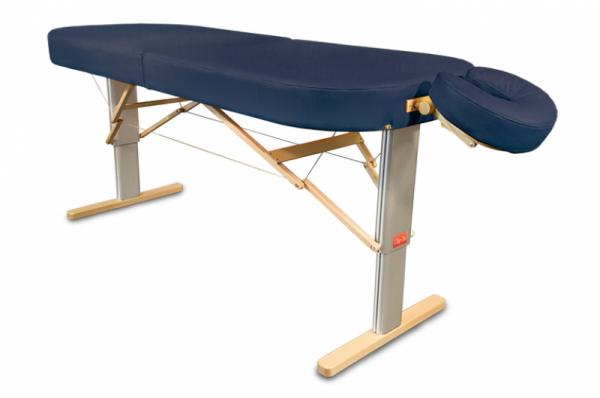 Mobile elektrische Lomi-Massageliege LINEA Hawaii (hier im Bild mit optionaler Kopfstütze ERGO)  Polsterfarbe: oceano