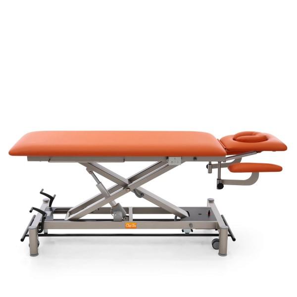 Therapieliege OSLO mit 4 Segmenten, Radhebesatz (optional), Untergestellfarbe in twintone (anthrazit / titanium), Bezugsfarbe PISA-orange