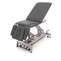 Therapieliege STOCKHOLM 7-Segmente, im Bild: Sitzeinstellung, Untergestellfarbe twintone, Radhebesatz (optional), Bezugsfarbe PISA-graphit