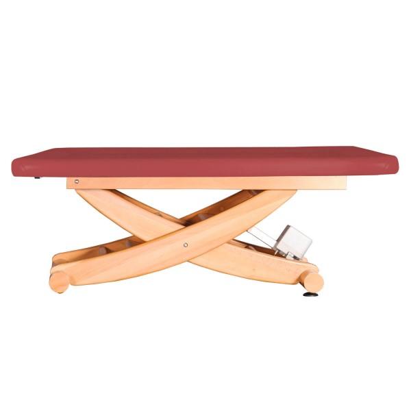 Ayurvedaliege mit Scherenmodell aus massiven Holz, Untergestell Buche lackiert, HAVANNA Serie, Farbe PU-vino