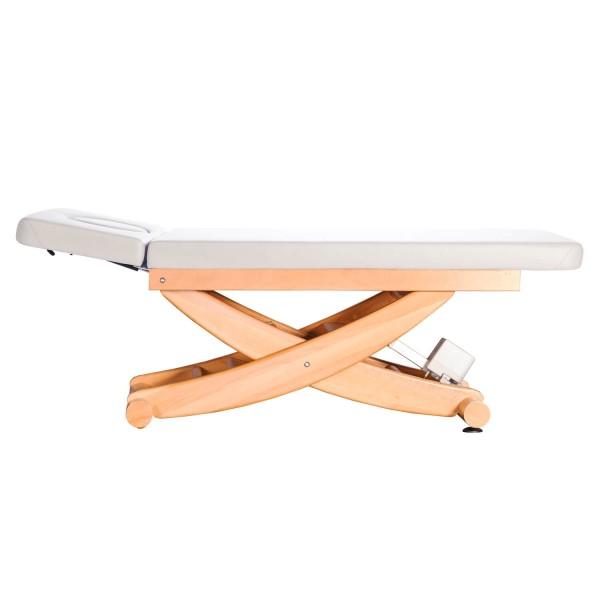 Massageliege Massivholz   HAVANNA 2-teilige Liegefläche   Untergestell. Buche lackiert   Farbe PU-blanco