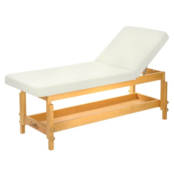 Untersuchungsliege - Wellnessliege aus Holz | STABILO mit hochstellbarem Rückenteil | Bezugsfarbe PU-blanco