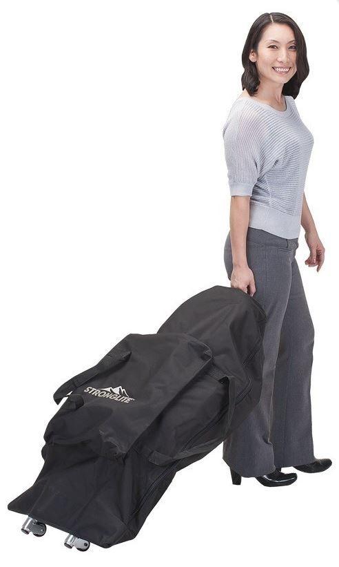 Tragetasche für Ergo PRO Massagestuhl - Beispielbild 2 mit Ergo Pro mit Rolleneinsatz des Massagestuhls